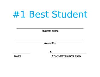 Best Student Certificate