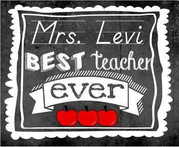 Best Teacher Ever Chalkboard Poster