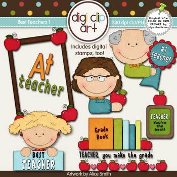Best Teachers 1-  Digi Clip Art/Digital Stamps - CU Clip Art