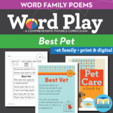 Best Vet - et Word Family Poem of the Week - Short Vowel E Fluency Poem