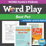 Best Vet - et Word Family Poem of the Week - Short Vowel E