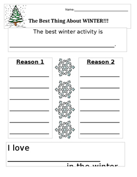 Best Winter Activity Graphic Organizer