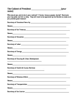 Best and Worst US Presidents and Pick Your Own Cabinet Packet worksheet