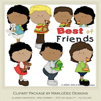 Best of Friends Clip Art Graphics Set 2 African American Children