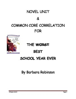 Best/Worst School Year Ever Novel Unit