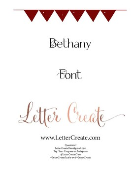 Bethany Script Font Calligraphy Workbook, Handwriting, Calligraphy Lesson