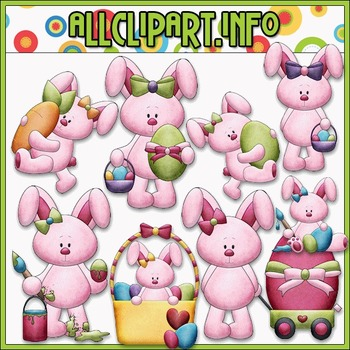 BUNDLED SET - Betsy Bunny Loves Easter Clip Art & Digital