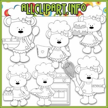 BUNDLED SET - Betsy Loves Baking Bears (Pink) Clip Art & Digital Stamp Bundle