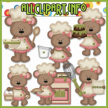BUNDLED SET - Betsy Loves Baking Bears (Pink) Clip Art & Digital Stamp Bundle