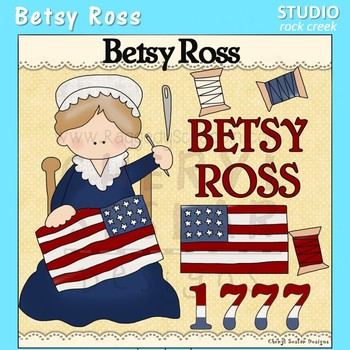 Betsy Ross US History Color Clip Art  C. Seslar