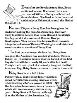 Betsy Ross Balanced Literacy Reading, Writing, Speaking, Listening Lesson Plan