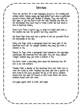 Betsy Ross Biography Writing Tab Book