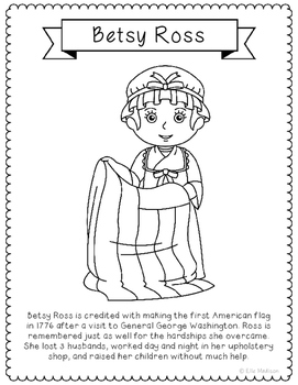 Betsy Ross Coloring Page Craft with Biography, American Flag, USA History