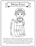 Betsy Ross Coloring Page Craft with Biography, American Fl