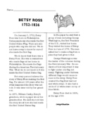 Betsy Ross Informational Text Nonfiction Reading Comprehen