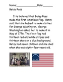 Betsy Ross Reading comprehension packet