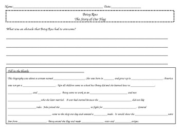 Betsy Ross Worksheets - Common Core RL.2.3