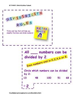 Betta Math Divisibility Rules Flipbook