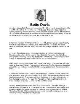 Bette Davis Article and Assignment