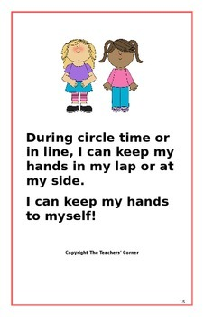 """Social Story- """"I Can Keep My Hands to Myself"""": A Better Behavior Booklet"""