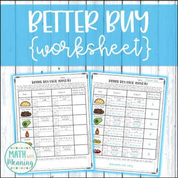 Better Buy Taco Tuesday Worksheet - CCSS 6.RP.A.3b