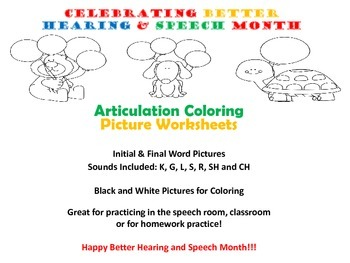Better Hearing and Speech Month Articulation Coloring Pages K,G,L,S,R,CH,SH