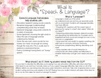 Better Hearing and Speech Month FREEBIE: Speech & Language Teacher Handout