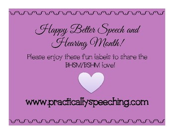 Better Hearing and Speech Month Labels