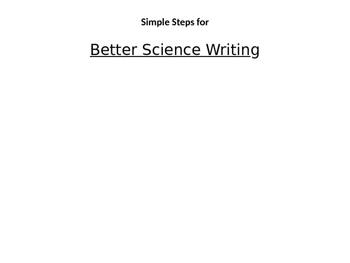 Better Science Writing