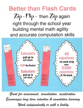 Better Than Flash Cards Zip Strip Math K - 1 - 2 With Assessment Task Cards