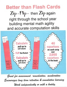 Better Than flash cards Zip Strip Math Grades 2 - 5 With Assessment Task Cards