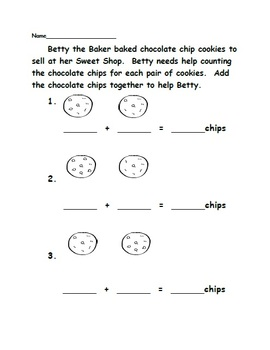 Betty Baker Bakes Chocolate Chip Cookies - Addition Activity