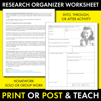 Betty Smith Author Study Worksheet, Easy Biography Activity, CCSS