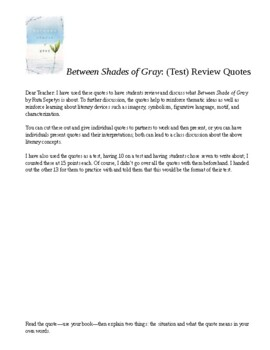 Between Shades of Gray Quotes Review