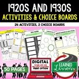 Between Two Wars 1920s 1930s Activities, Choice Board, Print & Digital, Google
