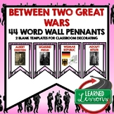Between Two Wars (1920s and 1930s) Word Wall Pennants (World History)