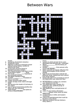 Between Wars Crossword Key
