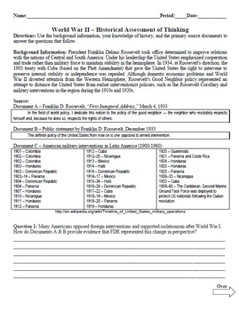 Between the Wars Historical Assessment of Thinking (Quiz) Common Core