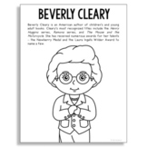 Beverly Cleary, Famous Author Information Text Coloring Page, Library Art