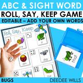 BUGS!  Sight Words Roll, Say, Keep-Editable