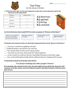 Beware of the Bears! - Text Talk - Test Prep - Vocabulary and Comprehension