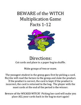 Beware of the Witch Multiplication Game