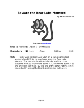 Beware the Bear Lake Monster! Small Group Reader's Theater