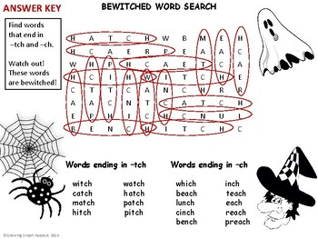 Halloween Word Search {ch,tch} Bewitched Words