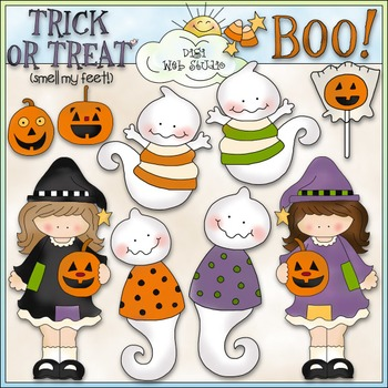 Bewitching Pals Clip Art - Halloween Clip Art - CU Colored