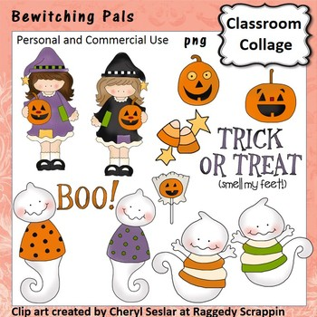 Bewitching Pals clip art - personal & comm use witches jack o lanterns ghosts