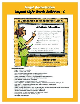 Beyond Sight Words Activities C