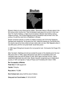 Bhutan  Worksheet