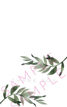 Bi-Fold Landscape Style General Spring Rosemary Frond Watercolor Thank You