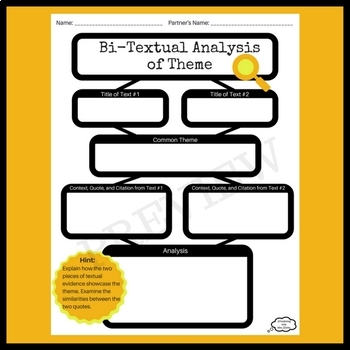 Bi-Textual Analysis of Theme Graphic Organizer for During or After Reading